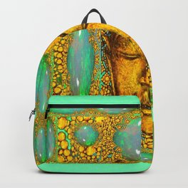 JADE GREEN PRECIOUS FIRE OPAL GEMS GOLD BUDDHA Backpack