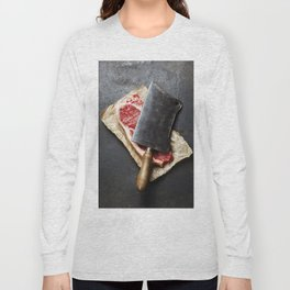 vintage cleaver and raw beef steak on dark background Long Sleeve T-shirt