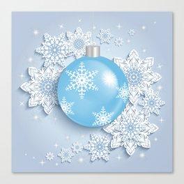 Christmas ball with snowflakes Canvas Print