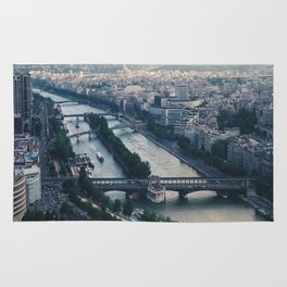 Aerial photograph of the city of Paris from the Eiffel Tower Rug