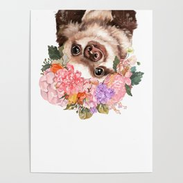 Baby Sloth with Flowers Crown in White Poster