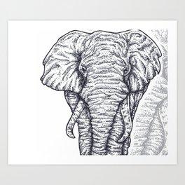 Elephant Dots Art Print