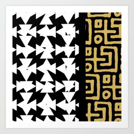 Black, White, & Gold Pattern Art Print