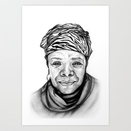 Maya Angelou - BW Original Sketch Art Print