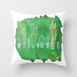 Cacti Line Up Throw Pillow