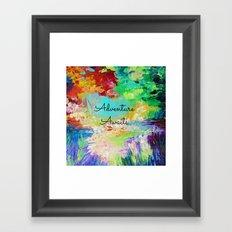 ADVENTURE AWAITS Wanderlust Typography Explore Summer Nature Rainbow Abstract Fine Art Painting Framed Art Print