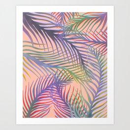 Palm Leaves Pattern - Purple, Peach, Blue Art Print