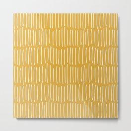 Boho Wall Art, Colour Prints, Yellow, Line Art Metal Print