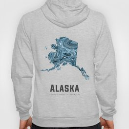 Alaska - State Map Art - Abstract Map - Blue Hoody