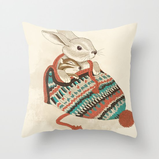 cozy chipmunk Throw Pillow
