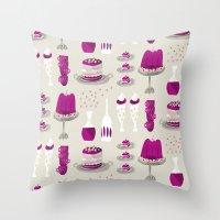 dessert Throw Pillows featuring jelly dessert  by mummysam