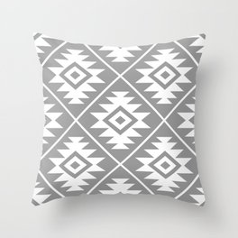 Aztec Symbol Pattern White on Gray Throw Pillow