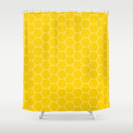 Honeycomb yellow and white pattern Shower Curtain