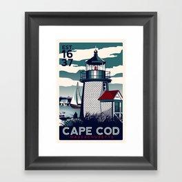 CAPE COD  Massachusetts Light House Retro Vintage nautical cape cod Framed Art Print