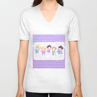 shinee V-neck T-shirts featuring SHINee Sleepover by sophillustration