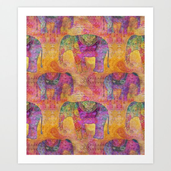 Elephant Pattern colorful orange pink Art Print