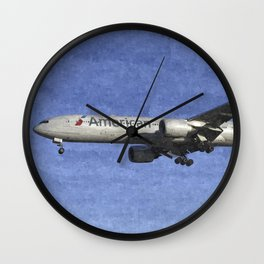 American Airlines Boeing 777 Art Wall Clock