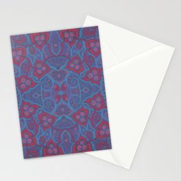 Pink berries, bohemian style, floral pattern, arabesque in blue and pink colours Stationery Cards