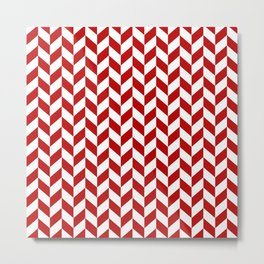 Red and White Herringbone Pattern Metal Print