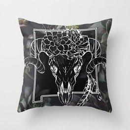 Skull and Succulants Throw Pillow