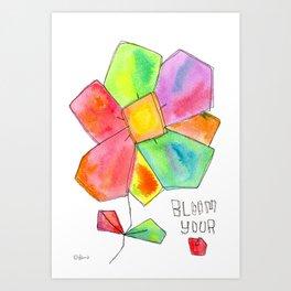 """Bloom Your LOVE"" Original Watercolor Flowers pattern Art Print"