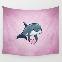 Love Ya! ~ Baby Dolphin by Amber Marine ~ Pink ~ (Copyright 2014) Wall Tapestry