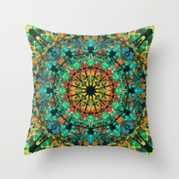kaleidoscope Throw Pillows featuring Kaleidoscope by Klara Acel