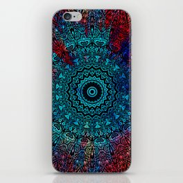 Bohemian Passion Blue & Red Mandala Design iPhone Skin