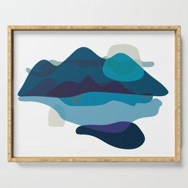 Abstract Mountains Landscape in Blue Serving Tray