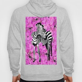 ZEBRA AND PINK FLOWERS and DRAGONFLIES Hoody