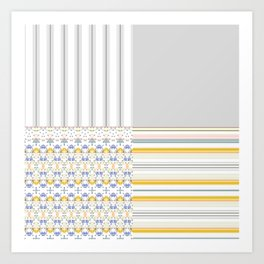 Mix Match Yellow Multi Pattern Art Print