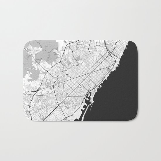 Barcelona Map Gray Bath Mat