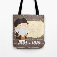 da vinci Tote Bags featuring Leonardo da Vinci by Alapapaju