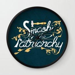 Smash the Patriarchy Feminist Art Nouveau Calligraphy Illustration Wall Clock