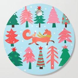 Fox And Bird In A Christmas Tree Winter Wonderland Cutting Board