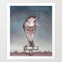 Yearning on a limb. (Bird) Art Print