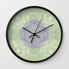 Mandala Pattern in Mint and Lilac Wall Clock