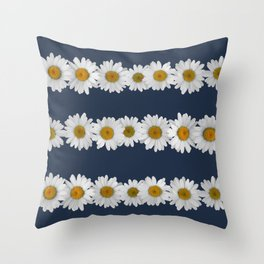 Daisy Chains on Navy Throw Pillow