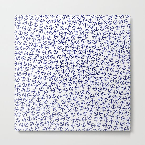 Maritime Anchors pattern- blue anchor on white background #Society6 Metal Print