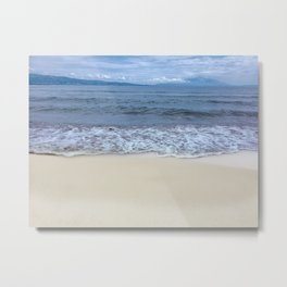 View from the beach to the sea and the waves Metal Print