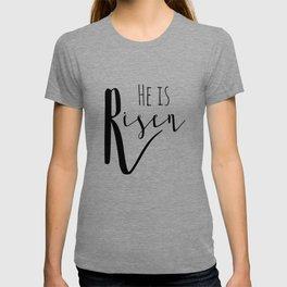 He is risen Mathew 28:6 Easter bible verse T-shirt