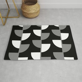 Climbing High - Grey and White on Black - Slices series Rug