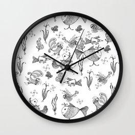 Seamless hand draw cartoon fairy fishes Wall Clock