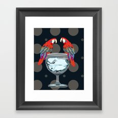 parrots on the cup of glass Framed Art Print