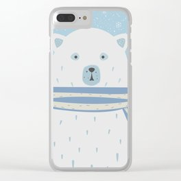 Polar White Bear with Scarf Clear iPhone Case