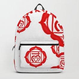 """RED SANSKRIT CHAKRA PSYCHIC WHEEL """"GROUND"""" Backpack"""