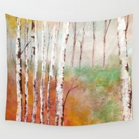 birch Wall Tapestries featuring Birch  by Indraart
