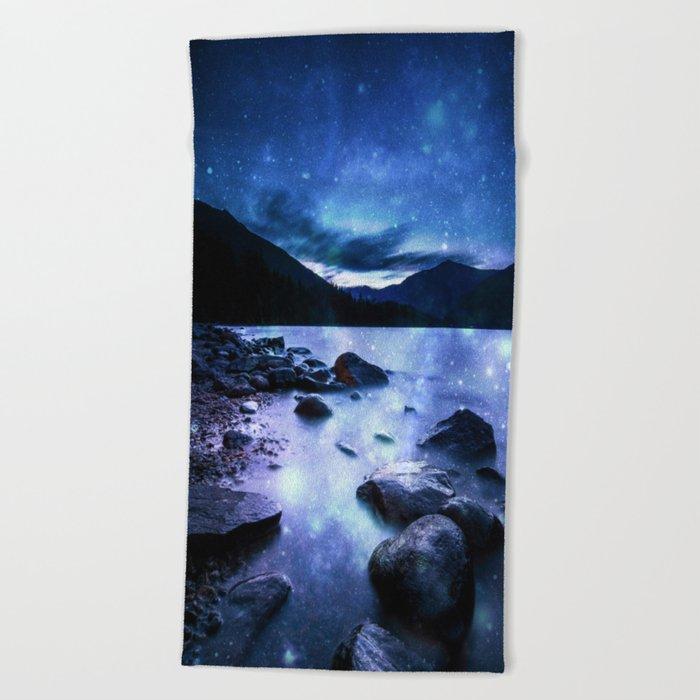 Magical Mountain Lake Blue Beach Towel