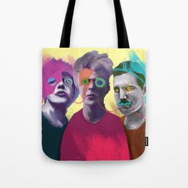 Jagger, Bowie and Mercury, POP art style, digitally painted and collaged Tote Bag