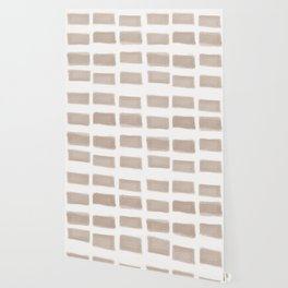 Brush Strokes Horizontal Lines Nude on Off White Wallpaper